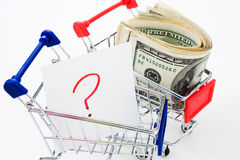 Shopping cart with question Royalty Free Stock Image