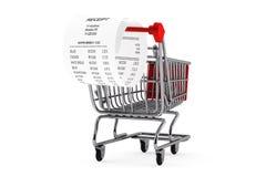 Shopping Cart & Receipt Stock Image
