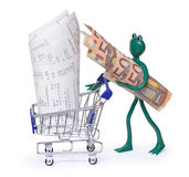 Shopping cart with receipts and frog with 50 euro bills. On white Stock Photography