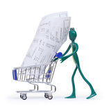 Shopping cart with receipts and frog Stock Image