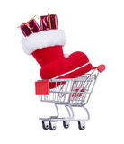 Shopping Cart With a Red Christmas Boot Royalty Free Stock Photography