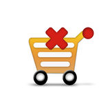 Shopping cart with red cross Stock Images