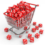 Shopping cart with red cubes with percent. Stock Photo