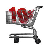 Shopping cart with red discount. Shopping cart with 10% discount in red vector illustration