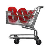 Shopping cart with red discount. Shopping cart with 30% discount in red Royalty Free Stock Images