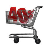 Shopping cart with red discount. Shopping cart with 40% discount in red royalty free illustration