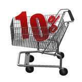 Shopping cart with red discount. Shopping cart with 10% discount in red Royalty Free Stock Images