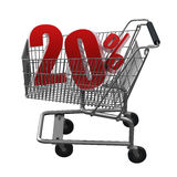 Shopping cart with red discount. Shopping cart with 20% discount in red stock illustration
