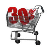 Shopping cart with red discount. Shopping cart with 30% discount in red vector illustration