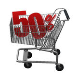 Shopping cart with red discount. Shopping cart with 50% discount in red stock illustration