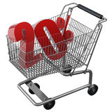 Shopping cart with red discount. Shopping cart with 20% discount in red vector illustration
