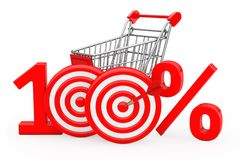 Shopping Cart Red 100 %  Sign as Darts Target with Darts Arrow. Shopping Cart Red 100 %  Sign as Darts Target with Darts Arrow on a white background. 3d Royalty Free Stock Photography