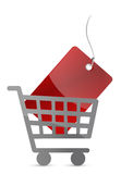 Shopping cart and red tag Royalty Free Stock Photos