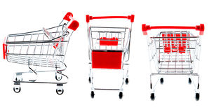 Shopping cart. Red shopping cart trolley set isolated on white Stock Photography