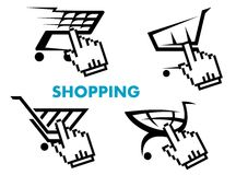 Shopping cart and retail business icons set Royalty Free Stock Photo
