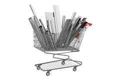 Shopping cart with rolled metal Royalty Free Stock Photos