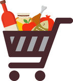 Shopping cart with rosh hashanah traditional food Stock Photography