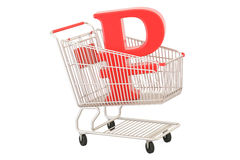 Shopping cart with ruble symbol, 3D rendering Royalty Free Stock Image