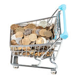 Shopping cart with russian coins isolated Stock Photos