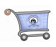 Shopping cart sad. Sad shopping cart - color illustration Royalty Free Stock Photos