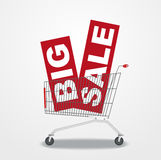 Shopping cart with sale banners Stock Photo