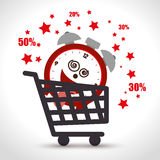 Shopping cart sale clock offer discount Stock Images