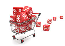 Shopping Cart Sale Cubes Stock Photography