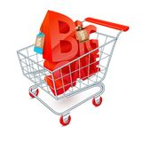 Shopping cart sale emblem. Supermarket shopping cart 3d with big sale red letters inside vector illustration Stock Photo