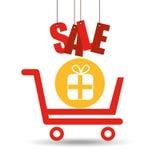 Shopping cart sale gift box icon Royalty Free Stock Photos