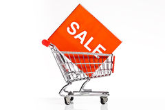 Shopping cart with sale icon isolated Stock Images