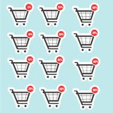 Shopping cart sale icons Royalty Free Stock Photo