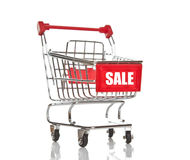 Shopping cart with sale inscription Stock Photo