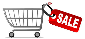 Shopping cart with sale label Stock Image