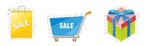 Shopping cart sale material/vector Stock Photography