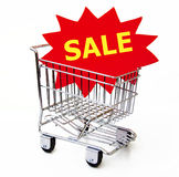 Shopping Cart With Sale Sign Stock Photos