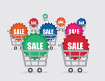 Shopping Cart Sale Sticker Many Colors Stock Image