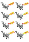 Shopping cart and sale tag Royalty Free Stock Photography