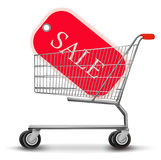 Shopping cart with sale tag. Concept of discount. Stock Photos