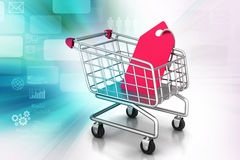 Shopping cart with sale tag. Concept of discount. Royalty Free Stock Images