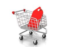 Shopping cart with sale tag. Concept of discount. Royalty Free Stock Photos