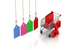 Shopping cart with sale tag. Concept of discount. Royalty Free Stock Image