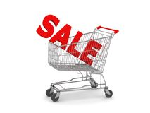 Shopping Cart with SALE text. Digital render of a Shopping Cart with SALE in the basket Royalty Free Stock Photography