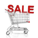 A shopping cart  with sale word isolated on white background Royalty Free Stock Image