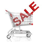 A shopping cart  with sale word isolated on white background Royalty Free Stock Photos