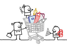 Shopping cart with school supplies royalty free illustration
