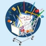 Shopping cart with school supplies Stock Photos