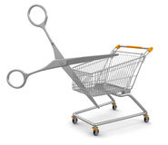 Shopping Cart and Scissors (clipping path included) Stock Photos