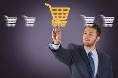 Shopping Cart on Screen Stock Photo