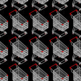 Shopping cart seamless pattern. Supermarket Shopping trolley background Stock Images