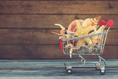 Shopping cart with seashells. On old wooden background. Toned image Stock Images